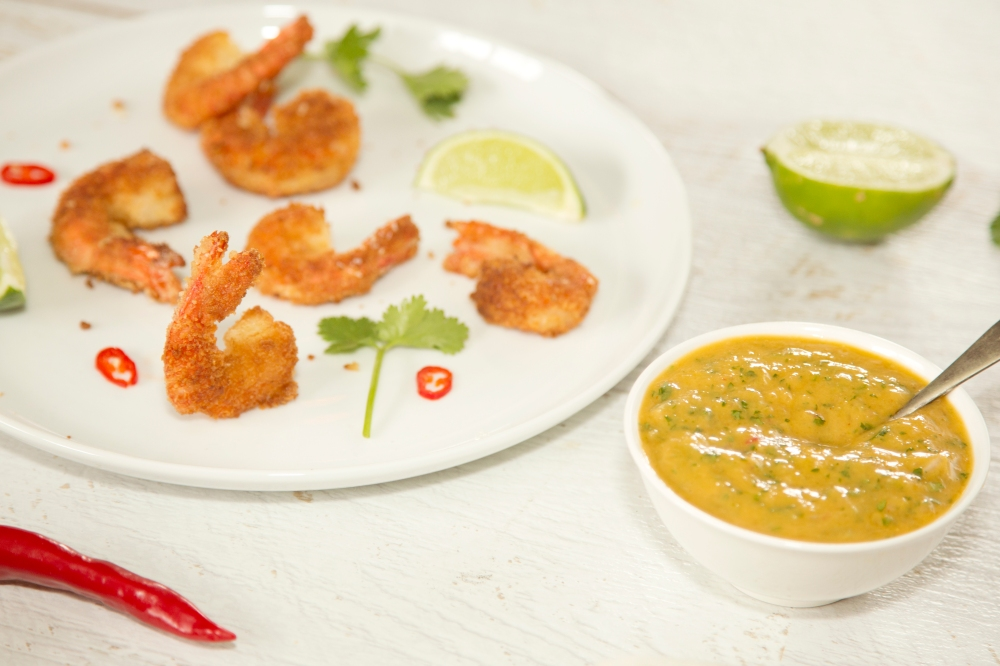 Coconut Prawns with Spicy Thain Mango Sauce, A dietitian and a photographer3