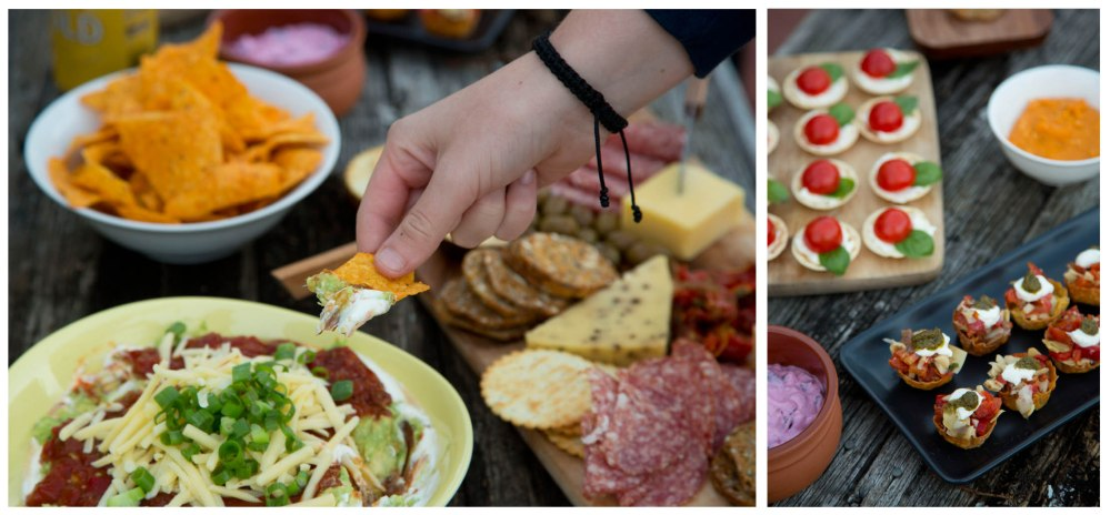 Nibbles, Mothers Day, A dietitian and a photographer, mexican dip, tomato and basil, antipasto